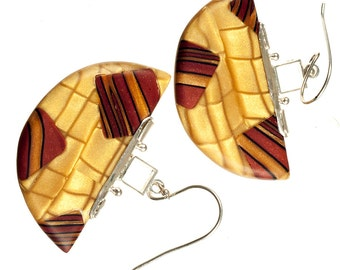 Polymer Clay earrings, Art Jewelry earrings,  Pendant Earrings, Half moon, gold and red