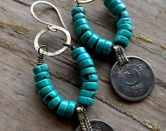 Bohemian Gypsy Turquoise Kuchi Coin Earrings Boho Earrings Gypsy Earrings Coin Jewelry