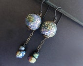 Sabaism. Textured iridescent polymer earrings with rainbow titanium pyrite.