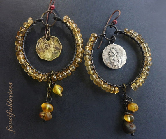 Duende. Rustic assemblage earring hoops with baltic amber, citrine and religious medal.