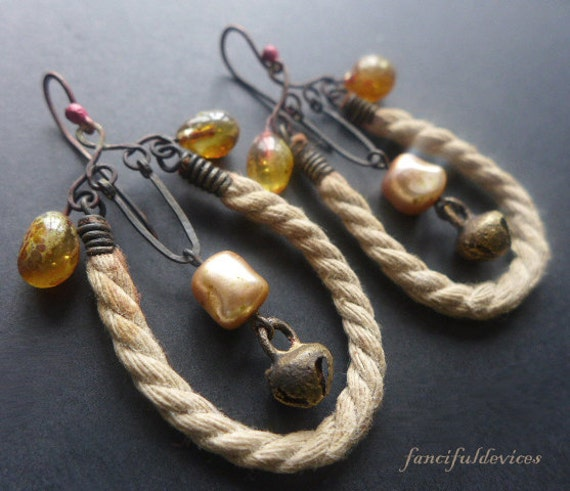 Hygge. Rustic assemblage lampwork and rope cord earrings