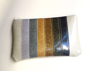 Zipper Pouch - Glitter Metallic Rainbow - Lined