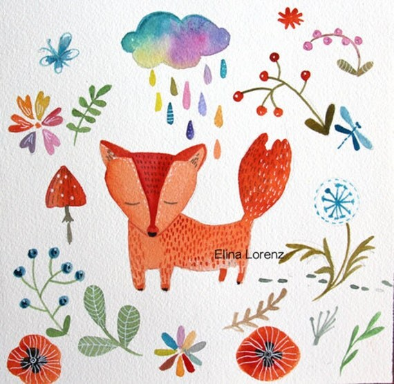 Fox illustration wall art print from original watercolor painting
