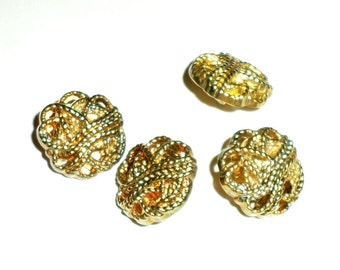 Vintage Buttons - Gold Tone Buttons - Shank Buttons - Decorative Buttons - Set of 4 Matching Buttons - Plastic Buttons - Fancy Buttons