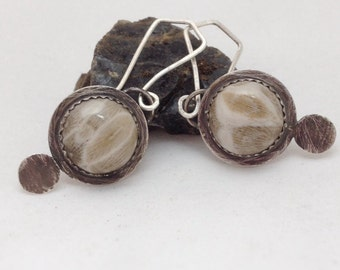 Fossilized Coral and Sterling Silver Bezel Set Earrings