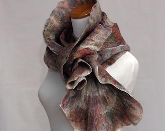 Multicolor Scarf Felted Scarf Scarves Nunofelt Nuno felt Silk Silky Felted Fiber Art