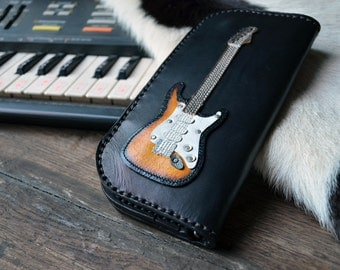 Long Wallet Stratocaster Guitar & Sunburst Color leather