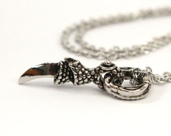 Two for One Sale...White Gold Plated Dragon Claw Necklace 2054