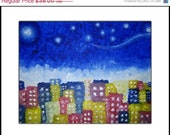 HOLIDAY SALE - PRINT With Matte of Original Modern Abstract Stars City Painting By Dan Lafferty - Starry Night Over The City