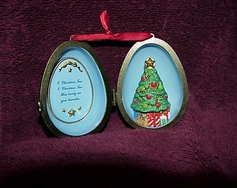Christmas Tree Surprise--Hallmark ORNAMENT--Cobalt Blue Egg--Opens With Tree Inside