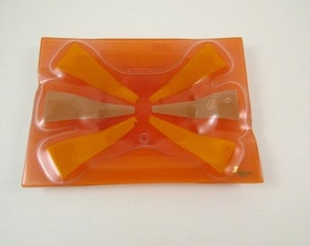 Vintage Higgins Orange Art Glass Ashtray Francis and Michael Higgins 1950s Mid Century Art Glass Ashtray Fused Glass