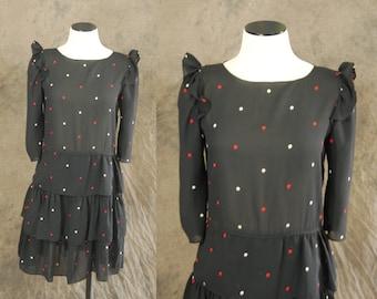 CLEARANCE Sale vintage 80s Dress - Sheer Black Polka Dot Dress 1980s Babydoll Dress Sz XS S