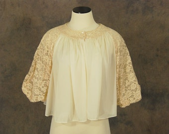 vintage 60s Bed Jacket - Sheer Cream Lace Top - 1960s Lounge Wear Pajamas S M
