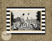 Gold Glitter, Black and White Stripes, Christmas Photo Card, Merry Christmas, Modern Christmas Card, Single photo, Holiday Greeting Card
