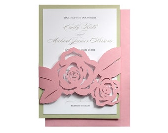 Rose Wedding Invitations - cutout rose flower wrap