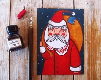 SALE Santa Claus postcard illustration, Christmas postcard