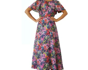 French Vintage 70s Maxi Floral Dress
