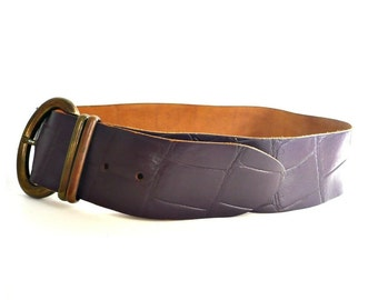 French Vintage Purple Leather Maxi Belt