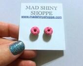 Pink Raspberry Sprinkle Doughnut Earrings - Polymer Clay Post Earrings