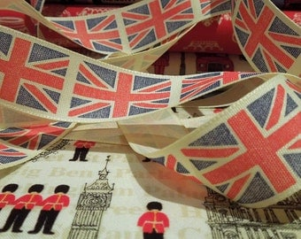 25mm Union Jack Ribbon by Berisfords, 1 inch London Ribbon, Red, Blue and White Vintage Flag Fabric Ribbon