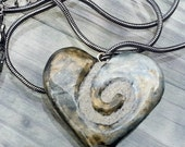 Swirl Heart Necklace REVERSIBLE Silver Heart Pendant Pearl and Brass