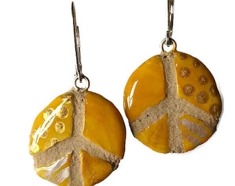 Golden Yellow Tribal Peace Sign Earrings :  REVERSIBLE mosaic tile jewelry