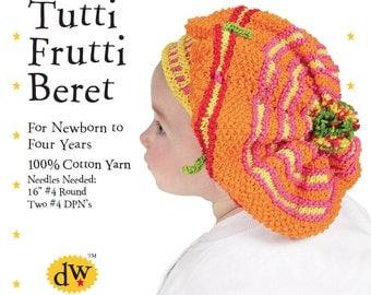 Knitting PDF PATTERN /Beret for Baby/Toddler/Debby Ware Pattern/Cotton/Beret/Baby Beret/Toddler Beret/Baby Hat/Debby Ware /Beret/Debby Ware