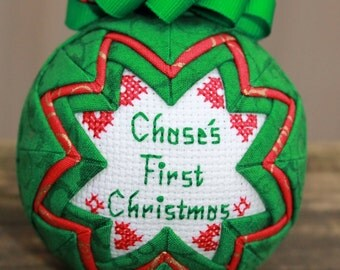 Red & Green Baby's First Christmas Ornament / Personalized