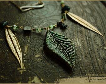 Leaf necklace night garden -  fairy OOAK Handmade jewelry sculpt