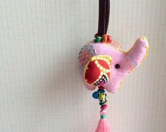 Elephant Keychain, Elephant Key chain, pink, fabric elephant, fabric keychain, xmas, ornament, plush elephant, fringe, colorful, children