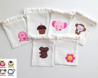 Favor Bag, Unbleached, Muslin, Drawstring bags, cotton bag, bear, koala, applique, cupcake, cartoon, animal, children, kid, elephant, monkey