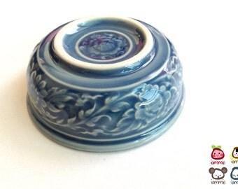 Ceramic Bowl, blue, flower, flower bowl, rice bowl, soup bowl, sauce, round, mini, small, decoration, bowl, bali, thai, luxury, kanok, set