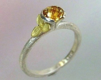 Rosecut Citrine Ring, Gemstone Ring, Stacking Ring, 18k Gold Hydrangea, Sterling Ring, Flower Ring, November Birthstone, Made to Order