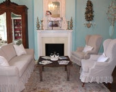 french linen ruffle slipcover sofa and 2 wingback chair s couch shabby chic  paris tan oatmeal custom order