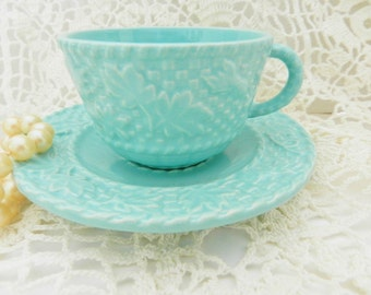 Bordallo Pinheiro, Bordallo Pinheiro Teacup,  Portugese Teacup, Turquoise Demitasse,  Espresso Teacup no A21