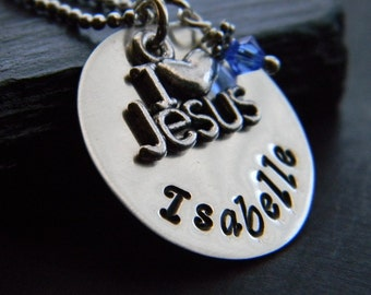 Personalized Religious Necklace, I Love Jesus, Christian, Faith, Personalized Jewelry, by RosesDesigns