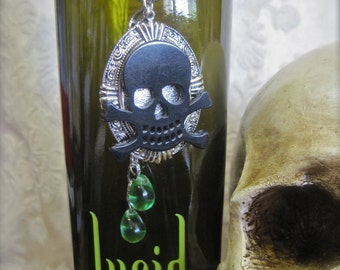 Absinthe Tears: Skull Necklace Vintage Assemblage Green Fairy Black Skull and Crossbones Silver Snake Chain One of a Kind ooak