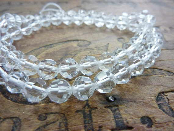 Cut Crystal Beads 7mm Factory Strand Vintage (60)