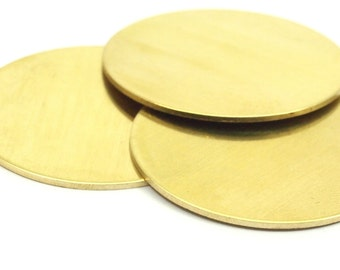 Round Personalized Blank, 5 Raw Brass Stamping Blanks, Tags Without Holes (38mm)  b0113