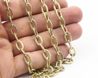 Brass Soldered Chain, 1 M Faceted Raw Brass Soldered Flat Cable Chain (11.2x7mm) W1127