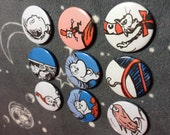 Dr Seuss vintage Cat in the Hat pin badge set,collection of x 9 hand made badges cut from original 1980's illustration books.Cool Aunty gift