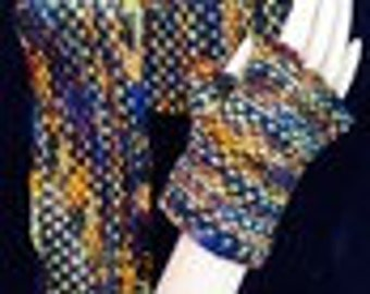 Linen Stitch Fingerless Mitts & Headband