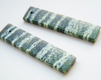 Green Breciated Jasper Elongated Polished Briolette Pair