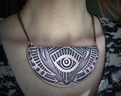 Rising Eye Necklace - Hand drawn and etched copper - made in my studio in Austin, Tx