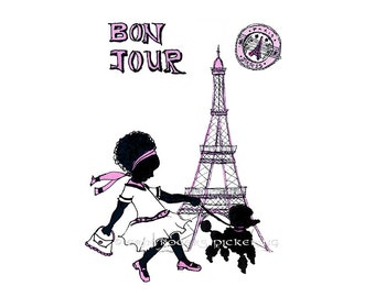 Bon Jour Parisian Girl with Afro Silhouette 8x10 Art Print
