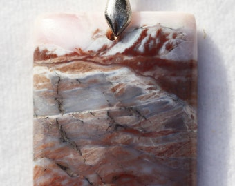 Brown Banded Opal Oblong Pendant