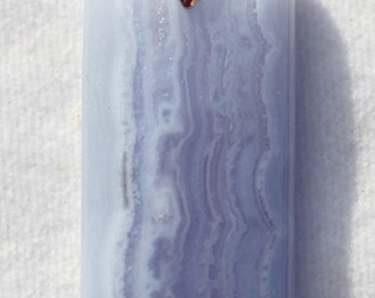 Blue Lace Chalcedony Elongated Rectangular Pendant