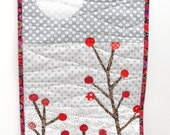 """Red berries wall quilt- """"moon berries"""" red berry branches with a full moon- in red, gray and white READY TO SHIP"""