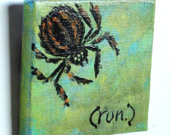 Halloween painting- hand painted art, black furry spider on green background, creepy,  READY TO SHIP