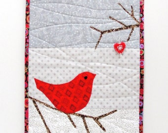 """Red bird wall quilt- """"peaceful joy"""" red bird on branch, heart ornament on a branch above and full moon- in red, gray and white READY TO SHIP"""
